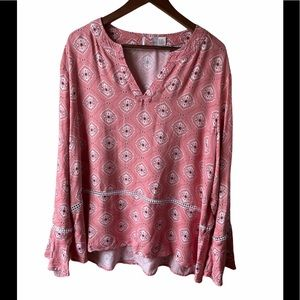 Boho tunic v-neck style top with bell sleeves